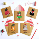 Handmade 3D Festive Christmas Cats Card Pack Of Five