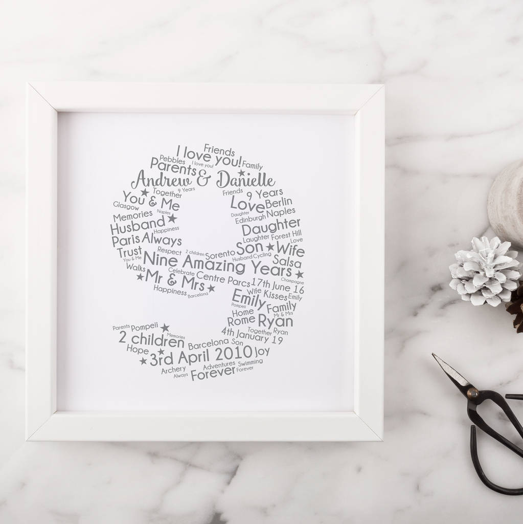 Gift For 9th Wedding Anniversary: Personalised 9th Wedding Anniversary Gift By Hope And Love