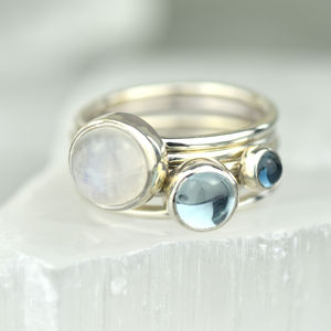 Icicle Silver Stacking Rings With Moonstone And Topaz - rings