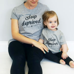Sleep Deprived Mummy And Me T Shirt Set - babies' mum & me sets