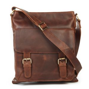 Leather Cross Body Messenger Bag - bags