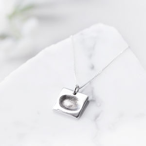 Personalised Silver Square Charm Fingerprint Necklace - necklaces & pendants