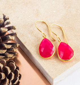 Fuschia Pink Chalcedony And Gold Earrings