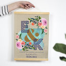 Personalised Linen Anniversary Floral Initials Print
