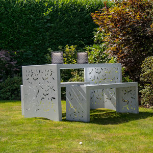 Leaf Design Metal Garden Table And Benches - al fresco dining