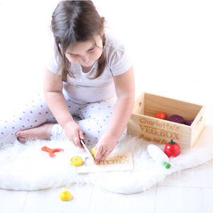 Personalised Wooden Veg Box Play Set - pretend play & dressing up