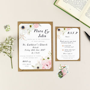 Blush Floral Wedding Invitation And RSVP - wedding stationery