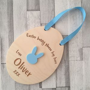 Easter Bunny Please Hop Here Wooden Sign - easter home
