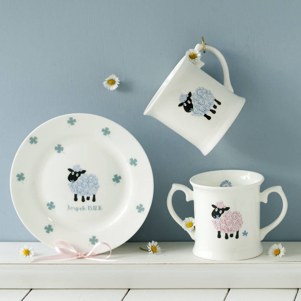 Plate and one or two handles mug set & personalised baby lamb plate and cup bone china set by china betty ...