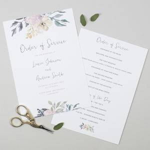 Floral Blush Wedding Order Of The Day Card - wedding stationery