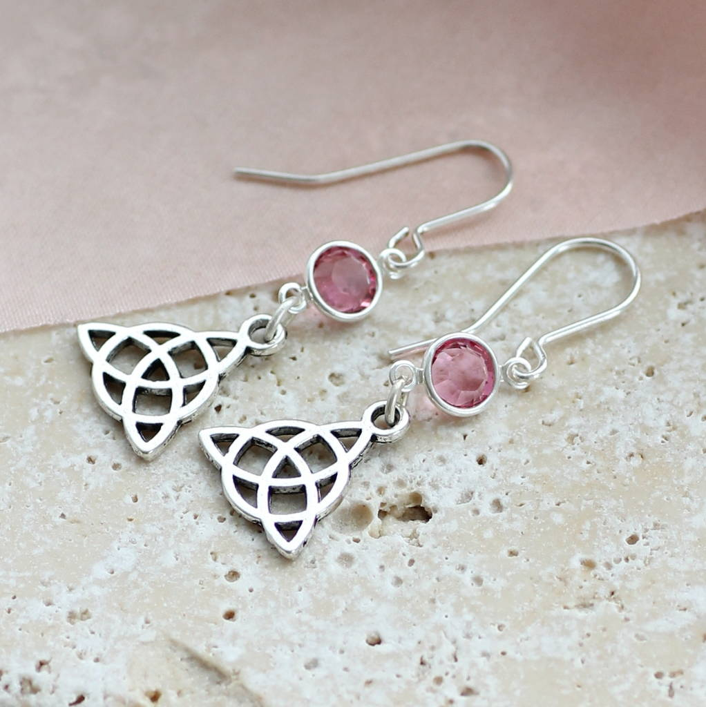 knot celtic earrings irish drop sterling at silver pearl