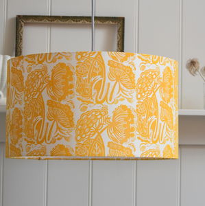 Queen Anne's Lace Lampshade Block Printed By Hand - lampshades