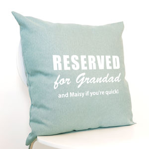 Personalised 'Reserved For…' Cushion