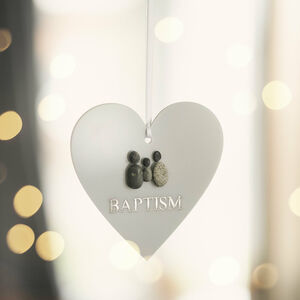 Personalised Pebble Christening Hanging Heart Keepsake