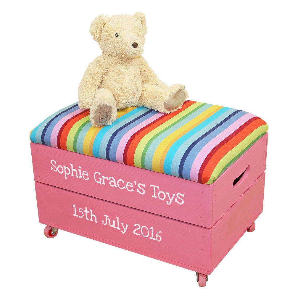 Personalised Wooden Toy Box With Padded Lid by Plantabox