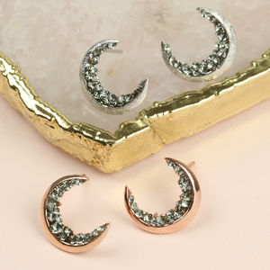 Crystal Crescent Moon Earrings