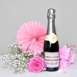 New Baby Personalised Champagne Gift With Earplugs