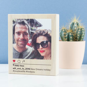 Personalised Mini Wood Insta Photo Block - new in home