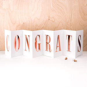 Congratulations Card; Rose Gold Foil Concertina Card - what's new