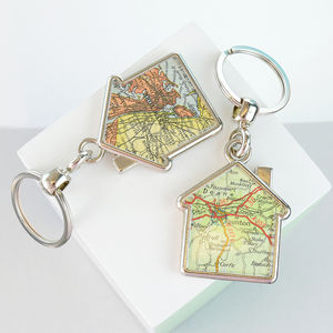Map Double Sided Personalised Keyring House - summer sale
