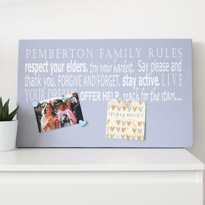 Family Rules Grey Magnetic Noticeboard - noticeboards