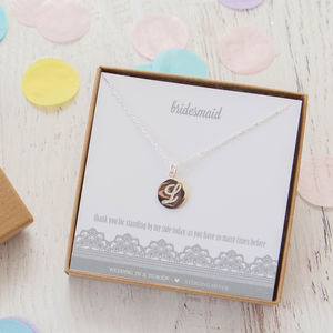 Wedding Party Initial Sterling Silver Necklace - necklaces & pendants