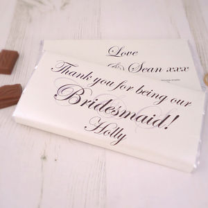 Personalised Bridesmaid Chocolate Bar - edible favours