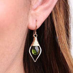 Peridot Quartz Leaf Hoops