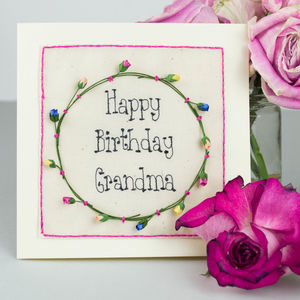 Personalised Embroidered Rose Birthday Card - birthday cards