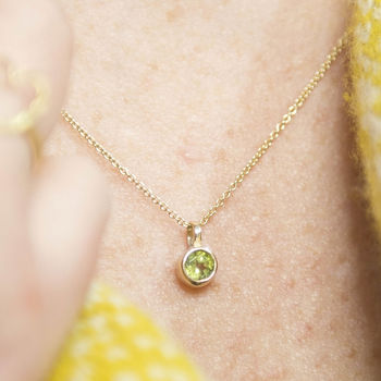 Peridot August Birthstone Gold Solitaire Pendant