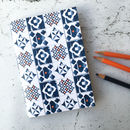 Marisol Notebook, Blue And Orange Tiling Pattern