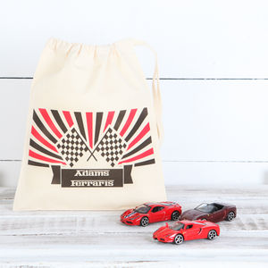 Three Die Cast Ferrari Cars And Personalised Bag