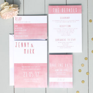 Ombre Colour Block Wedding Invitation