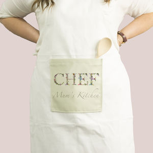 Personalised Kitchen Apron With Botanical Lettering