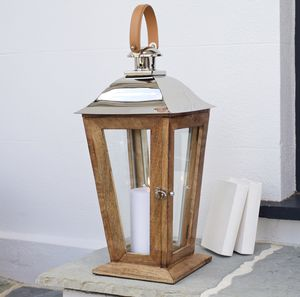 Wood Candle Lantern Tall - outdoor lights