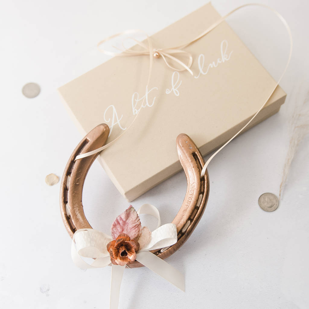 Horseshoe Wedding Gift: Personalised Rose Gold Wedding Horseshoe Bridal Gift By