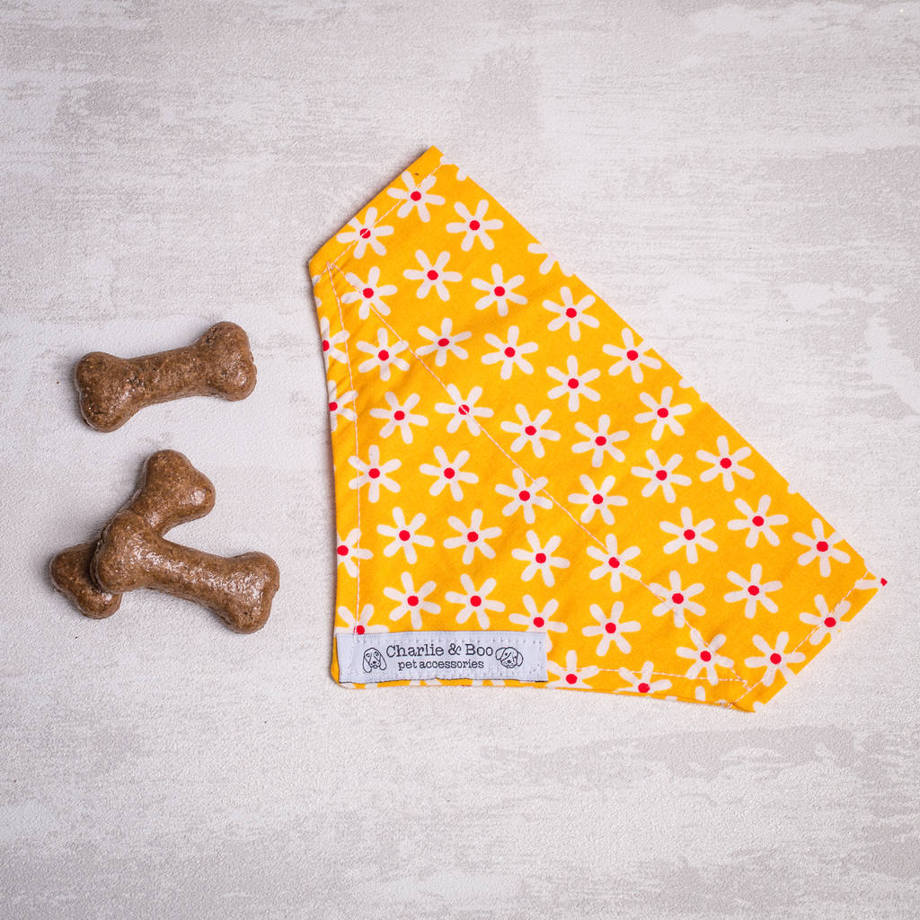 Yellow Floral Bandana For Girl And Boy Dogs