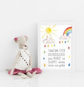 Sunshine Happy Nursery Print - posters & prints for children