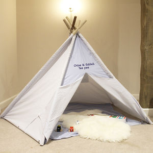 Blue Stripe Teepee With Storage Bag And Play Mat