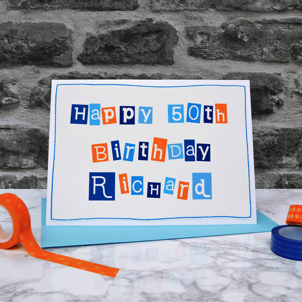 Personalised Typographic 50th Birthday Card For Men