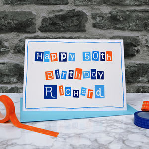 Personalised Mens 50th Birthday Card - birthday cards