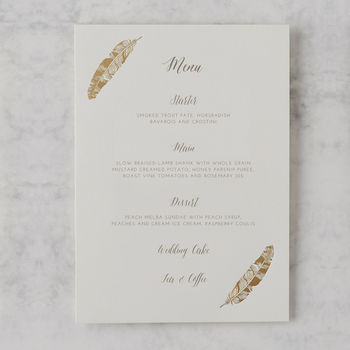 'Flock Of Gold' Luxury Foil Wedding Menu