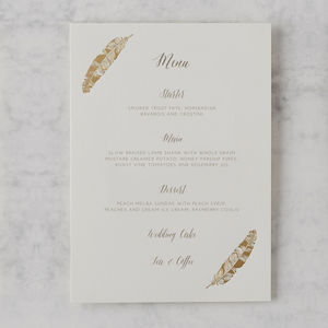 'Flock Of Gold' Letterpress Wedding Menu