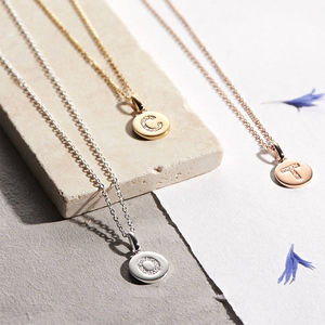 Genuine Diamond Initial Disc Necklace - jewellery