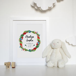 Personalised Tropical Baby Watercolour Print - baby's room