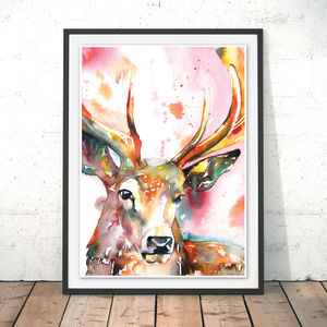 Red Stag Watercolour Fine Art Print - animals & wildlife