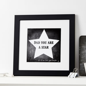 Personalised You Are A Star Chalkboard Print - posters & prints
