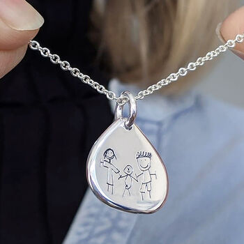 Personalised Childs Drawing Silver Droplet Necklace