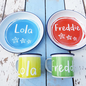 Personalised Enamel Mug And Plate Set