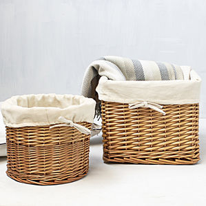 Honey Willow Lined Storage Basket